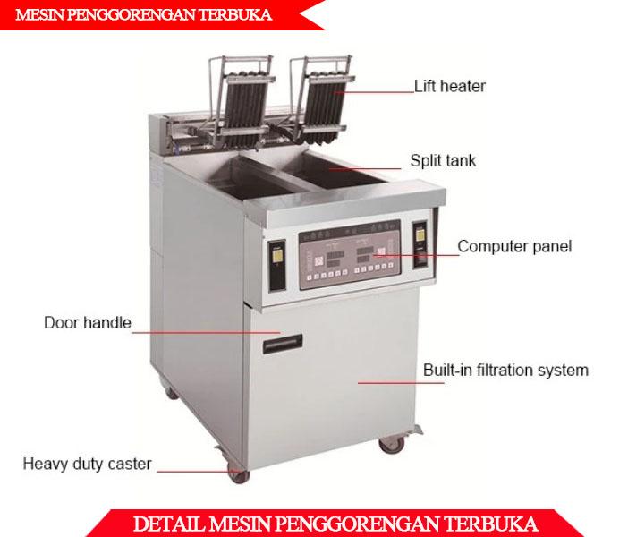 Detail mesin penggorengan terbuka berkualitas