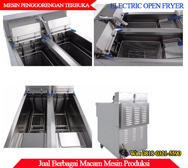 Tampilan Mesin penggorengan terbuka deep fryer