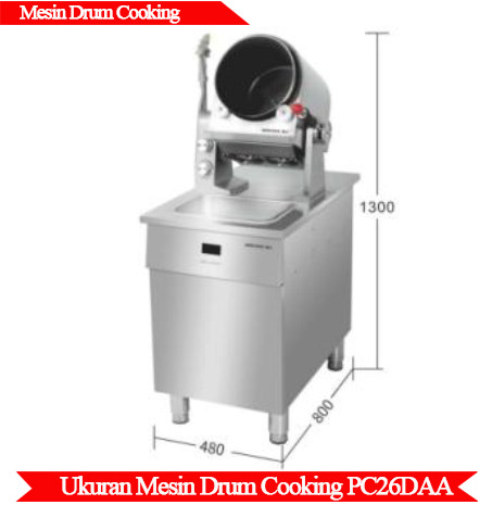 Ukuran Mesin Drum cooking PC26DAA
