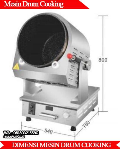 Ukuran mesin drum cooking murah berkualitas tinggi