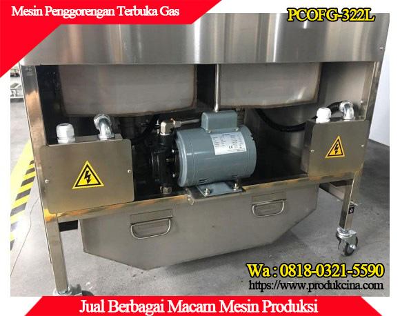 Bagian belakang mesin penggorengan terbuka